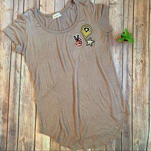 Free Kisses Mauve Patriotic Patch T-shirt M